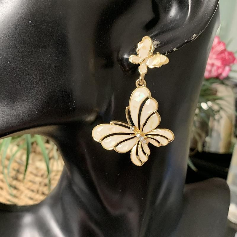 Women's Exaggerated Retro Earrings with Diamond Shell Butterfly Earrings NHJJ202760