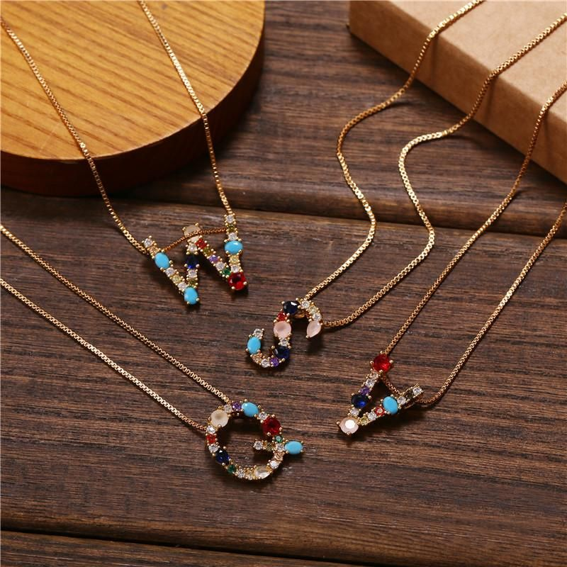Necklace clavicle chain micro inlaid color zircon 26 letter necklace for women NHJJ202762