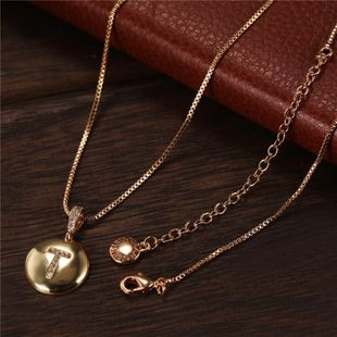 New round T letter necklace stainless steel gold pendant NHJJ202765's discount tags