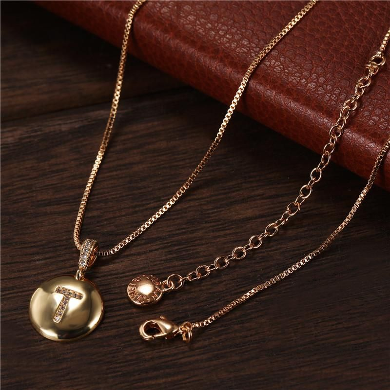 New round T letter necklace stainless steel gold pendant NHJJ202765