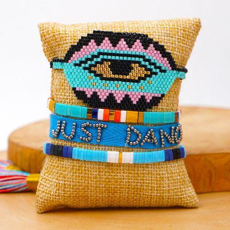 Miyuki Rice Beaded Turkish Evil Eye Bracelet Ethnic Tila Bead Ribbon Set Ornament suppliers china NHGW202777's discount tags