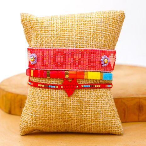 Fashion ethnic style Miyuki rice beads hand-woven love LOVE bracelet tila beads for women bracelet wholesales fashion NHGW202781's discount tags