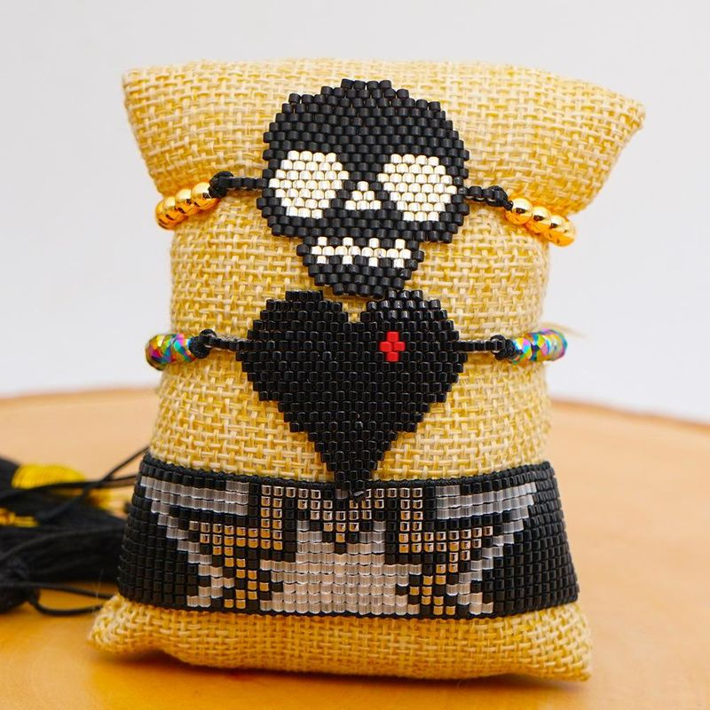 Miyuki Bead Woven Crystal Skull Female Bracelet Fashion Love Set Decoration wholesales yiwu suppliers china NHGW202782