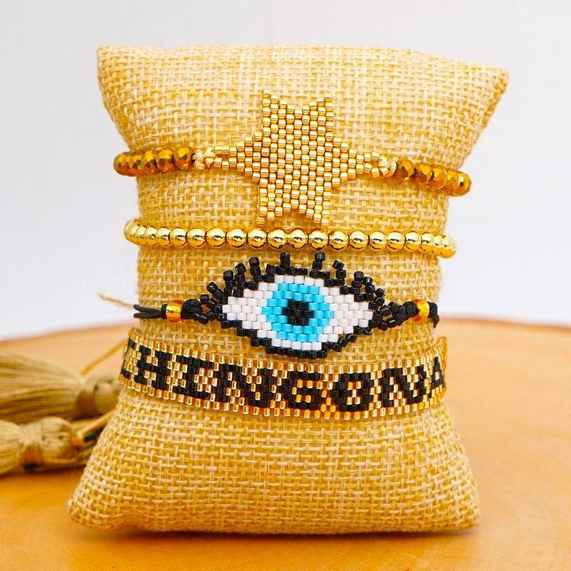 Fashion Crystal Pentagram with Miyuki Beads Woven Turkish Evil Eye Bracelet Jewelry wholesales yiwu suppliers china NHGW202786