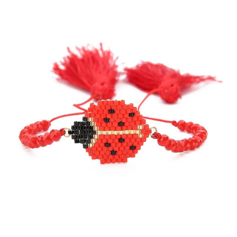 New Insect Miyuki Crystal Tassel Red Rope Bracelet DB Antique Rice Bead Hand Woven Ladybug Ornament NHGW202794