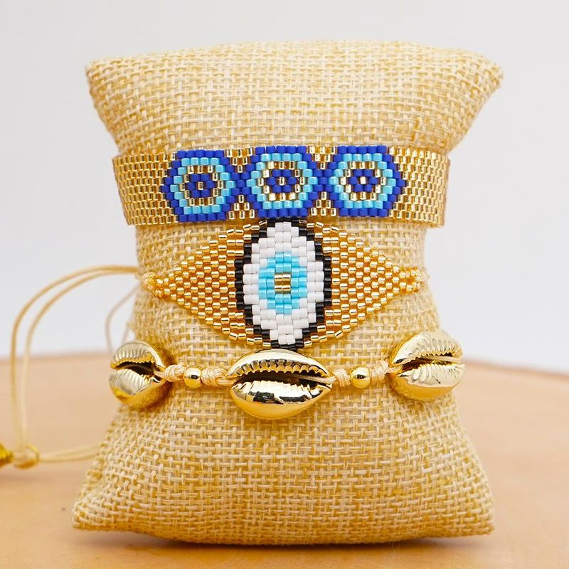 Miyuki Mizhu Hand Woven Evil Eye Jewelry Fashion Beach Natural Shell Gold Plated for women Bracelet NHGW202799