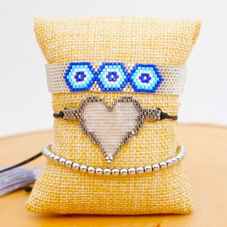 Miyuki Mizhu Handwoven Love Evil Eye Jewelry Fashion Ethnic Style 4mm Silver Bead Bracelet NHGW202800's discount tags