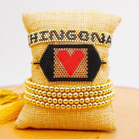 Miyuki Mizhu Hand Woven Evil Eye Copper Wire Tassel Jewelry Fashion 4mm Gold Bead for women Bracelet NHGW202801's discount tags