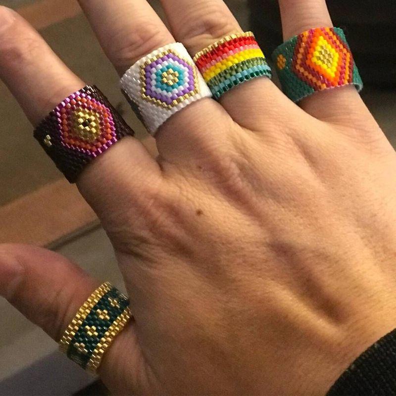 Fashion ring boho Miyuki rice beads handmade woven jewelry wholesale NHGW202802
