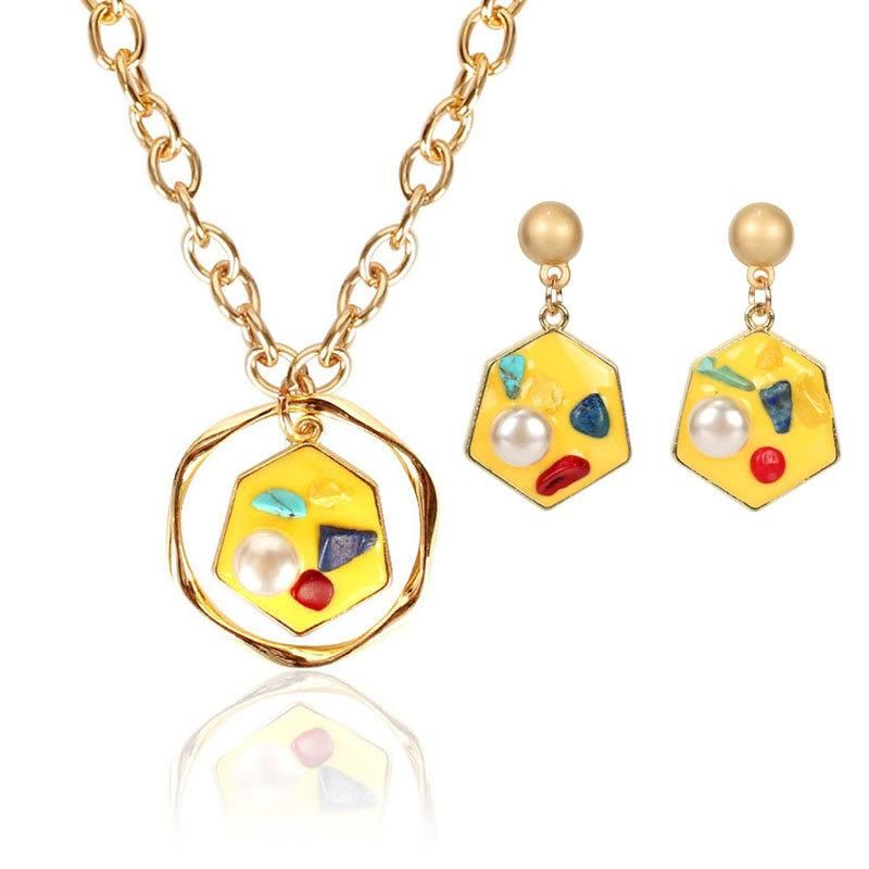 Jewelry Simple Personality Irregular Diamond Earring Necklace Set NHCT202803