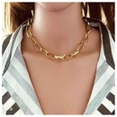 Exaggerated metal singlelayer cross chain necklace for women personality and stylish oval chain necklace NHCT202804