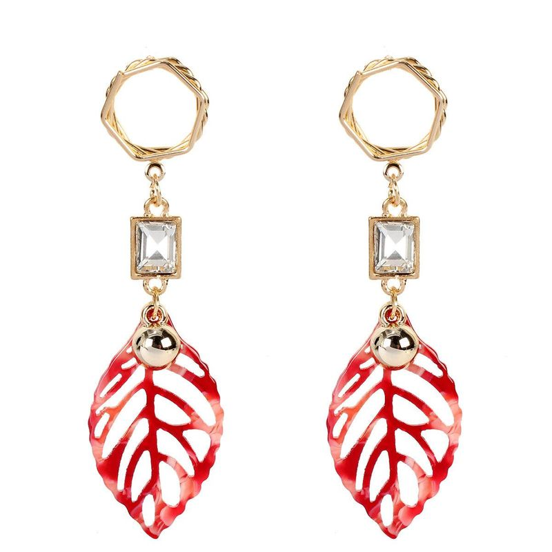 Fashion earrings leaf shape acrylic diamond earrings simple fashion earrings women NHCT202805