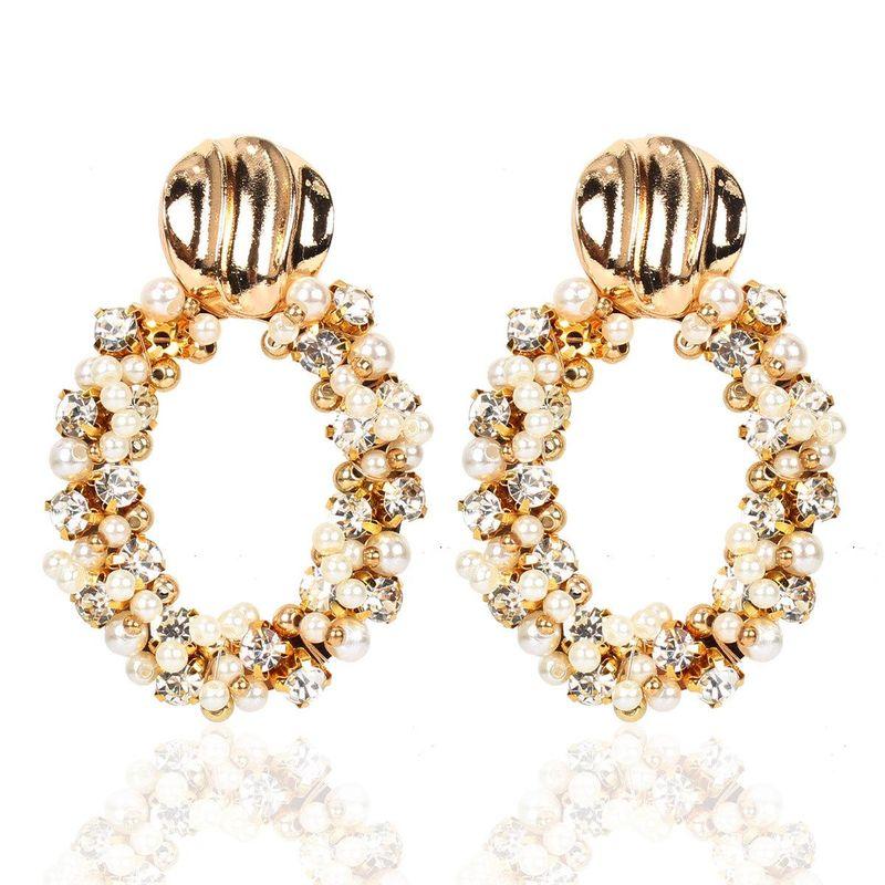 Pearl Oval Earrings Vintage Metal Handmade Rhinestone Earrings Wholesale NHCT202808