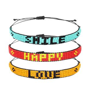 Bohemian Bracelet Bracelet Rice Bead Woven Bracelet with Letters wholesales yiwu suppliers  NHCT202810's discount tags