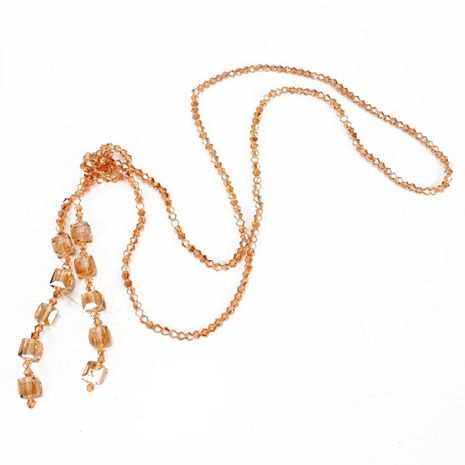 New Handmade Crystal Beaded Necklace Women's Long Sweater Chain wholesales yiwu supplliers china NHCT202812's discount tags