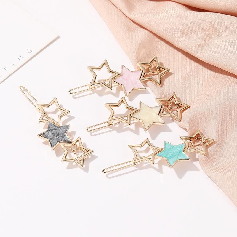 Korean new cute five-pointed star acetate hair clip sweet girl star hollow cut edge clip NHDP202823