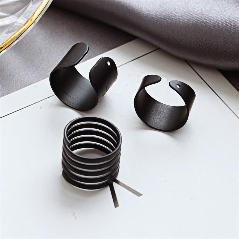 Korean jewelry black matte frosted open ring three-piece tail ring wholesales yiwu suppliers china NHDP202825