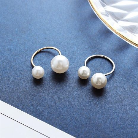 Korea Handmade Elegant Lady Style U-shaped Pearl Opening Adjustable Ring Wholesale yiwu suppliers china NHDP202828's discount tags