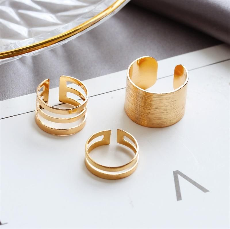 Korean Jewelry Wholesale Three-piece Ring Opening Ring Brushed wholesales yiwu suppliers china NHDP202830