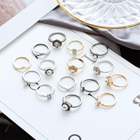Fashion Lady Ring Ring Pearl Bright Diamond Five-Piece Ring NHDP202831's discount tags