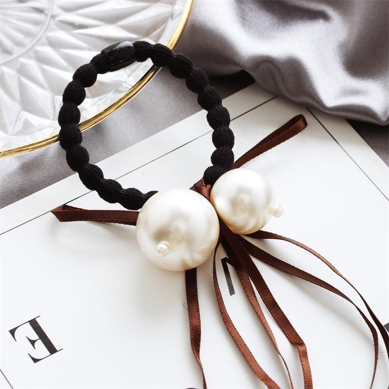 Korea new size pearl hair ring ribbon bow hair rope sweet head rope wholesale NHDP202832