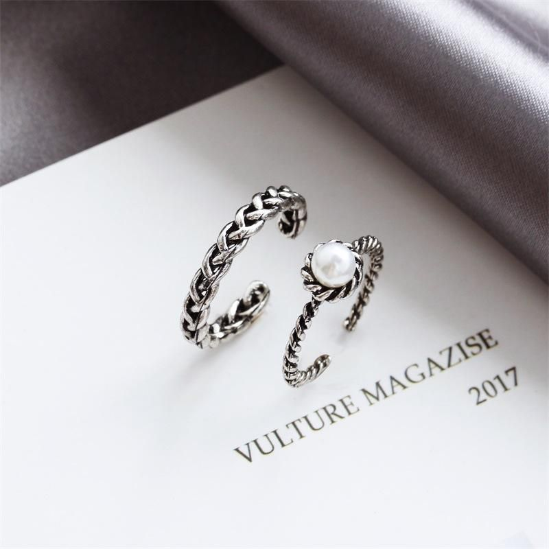 Simple woven twist two-piece open ring female Korean retro imitation freshwater pearl ring NHDP202834