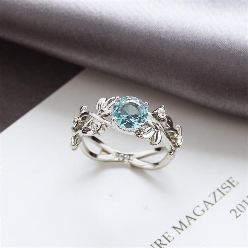 Fashion OL Pop Leaf Leaf Diamond Zircon Ring Environmental Protection Plating 925 Silver Sapphire Copper Jewelry NHDP202835