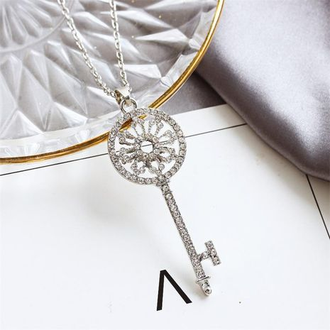 Korean new wholesale diamond garland key necklace long chain fashion sweater chain NHDP202839's discount tags