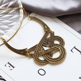 Retro geometric hollow U-shaped necklace sweater chain jewelry wholesale NHDP202854's discount tags