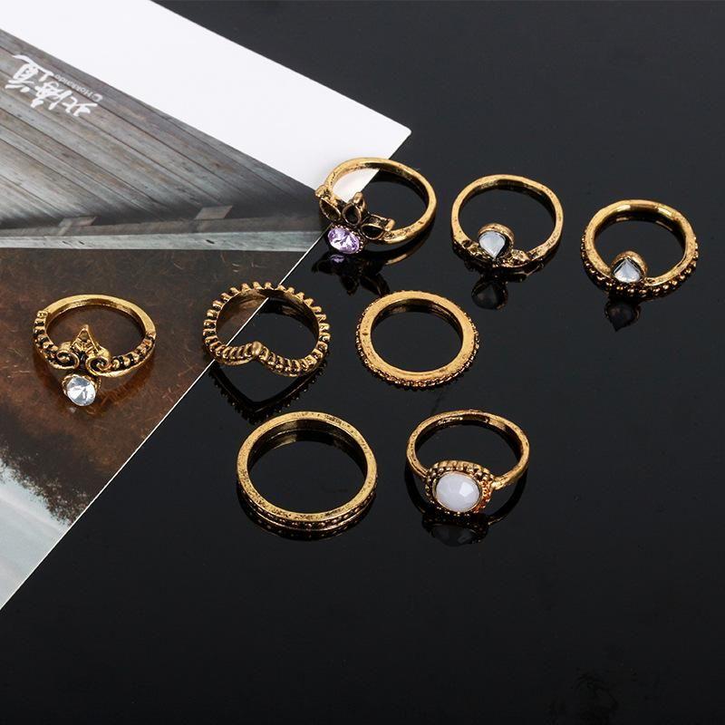 Vintage gemstone diamond geometric V-shaped ring set of eight rings NHDP202855
