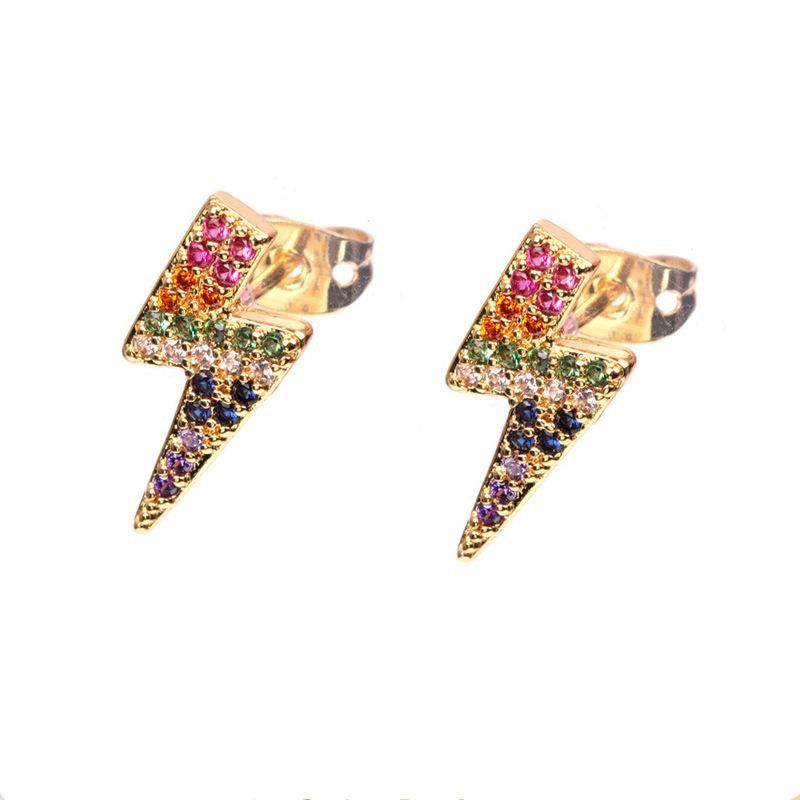 New Accessories Star Earrings Colored Diamond Lightning Stud Earrings wholesales yiwu suppliers china NHPY202867