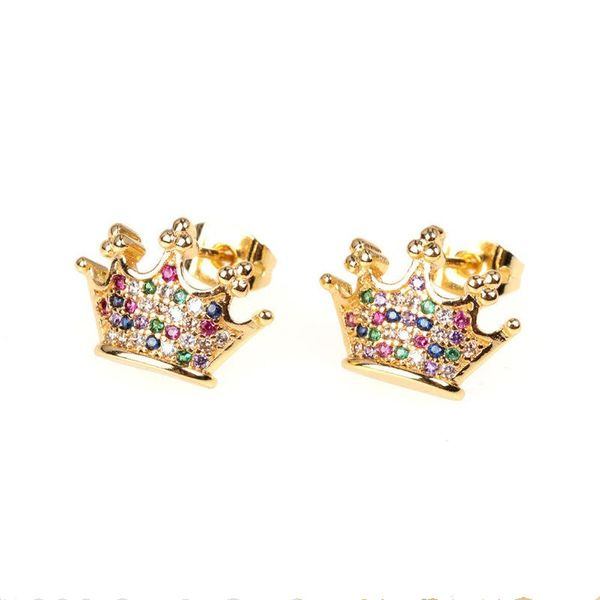 New Accessories Crown Micro Inlaid Zircon Earrings Fashion Ear Jewelry Wholesale NHPY202870