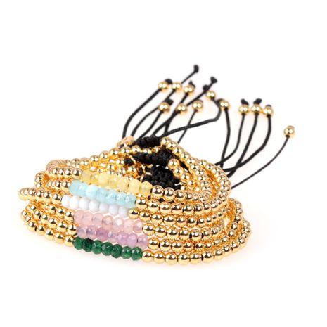 Nouveaux accessoires Bracelet en pierre naturelle à facettes mélangées multicolores Bracelet réglable en perles de cuivre plaqué NHPY202872's discount tags