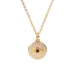 Vintage Gilded Devil's Eye Round Coin Necklace wholesales yiwu  NHPY202880's discount tags
