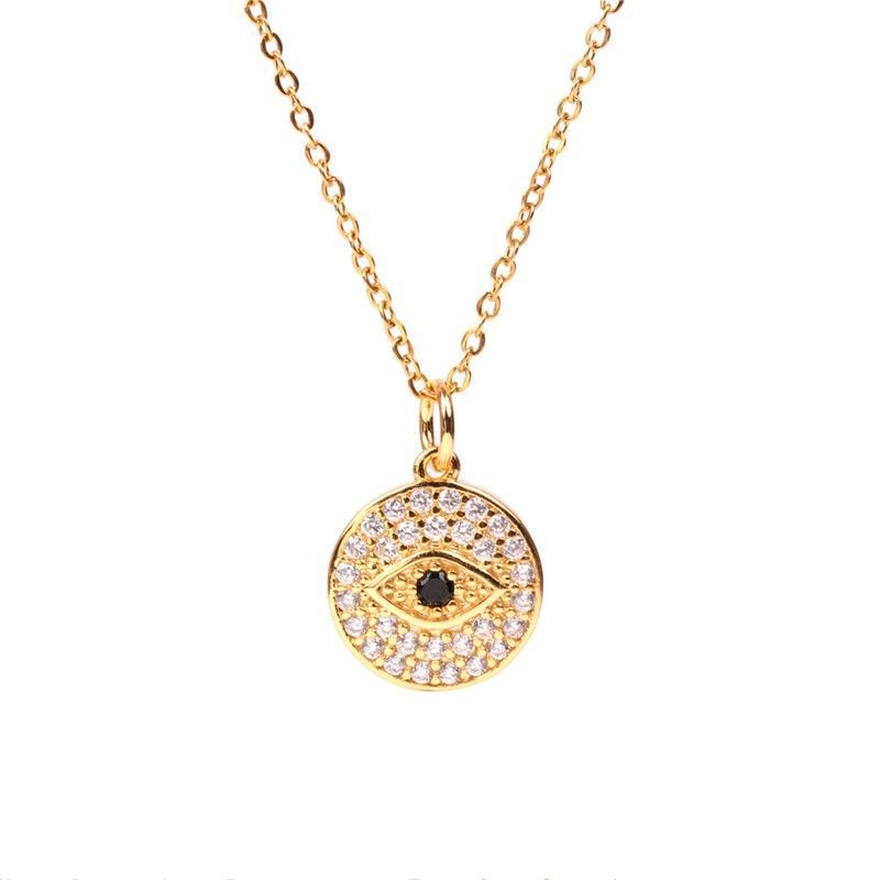 Vintage Gilded Devil's Eye Round Coin Necklace wholesales yiwu  NHPY202880