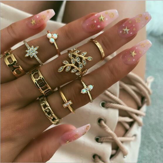 Womens Ring Bohemian Diamond Flower Knot Ring Set of 9 NHGY202881