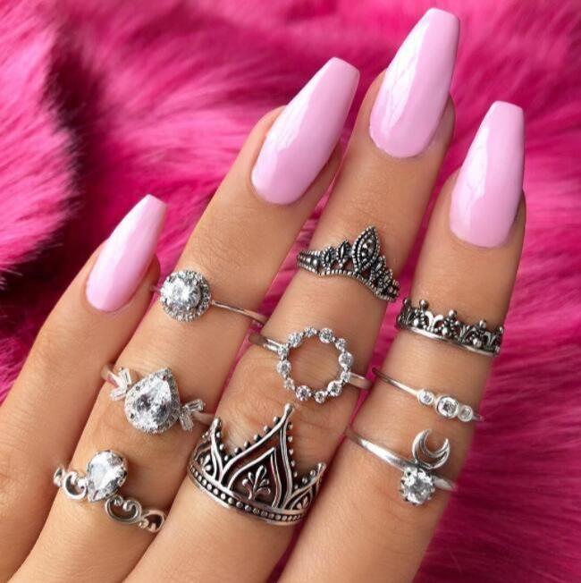 Fashion Crown Moon Ring 9-Piece Retro Drop Shaped Diamond Ring Set NHGY202882