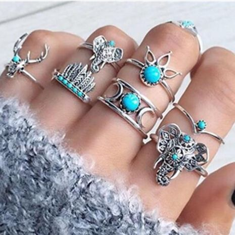 New jewelry animal deer head elephant ring 7 piece feather moon turquoise ring set NHGY202883's discount tags