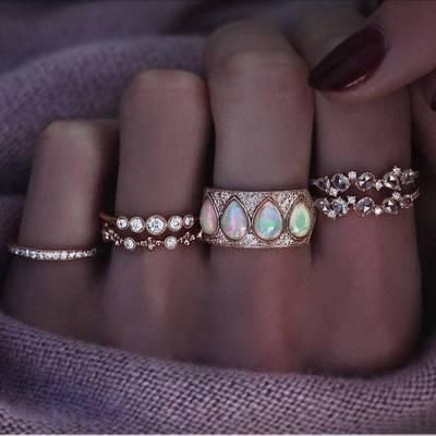 Fashion rings for women new simple diamond drop opal ring set of 6 NHGY202887