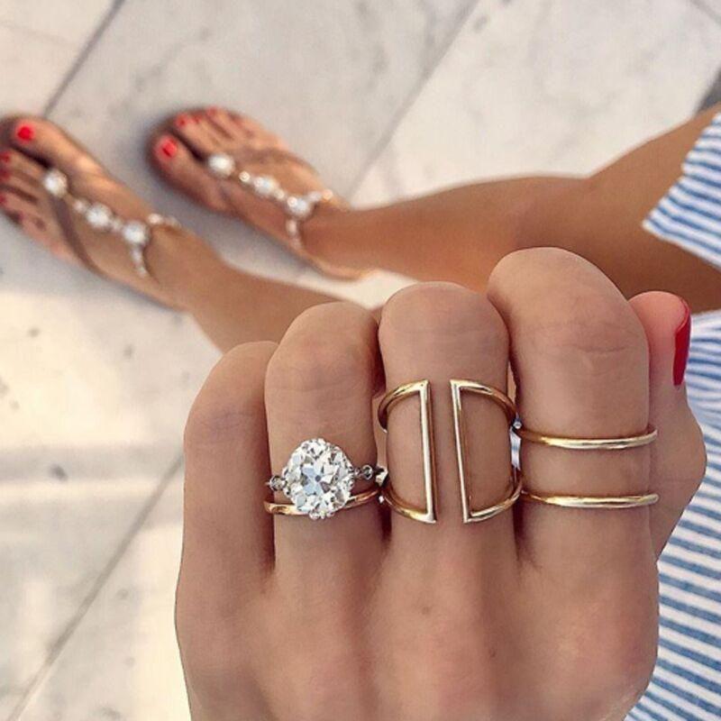 Fashion diamond ring ring set simple zircon knuckle ring 3-piece set NHGY202889