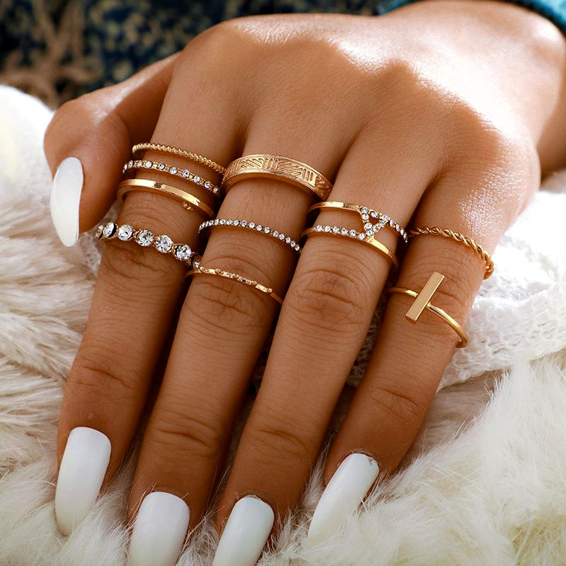 Fashion rings for women Twist Diamond Open Slotted Ring 8-Piece Retro Joint Ring Set NHGY202890