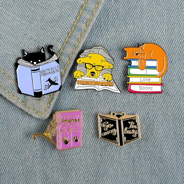 Student cute cartoon animal brooch kitten reading book badge puppy reading book brooch NHBO202897