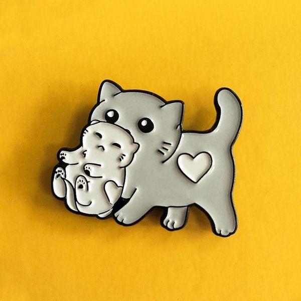 Cartoon kitten 叼 doll brooch alloy enamel kitten animal cowboy student badge NHBO202899