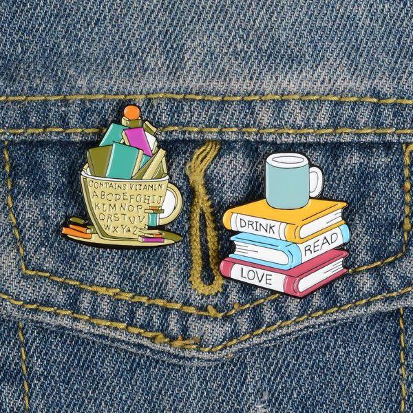 Coffee brooch custom love enamel badge read clothes lapel pin NHBO202905