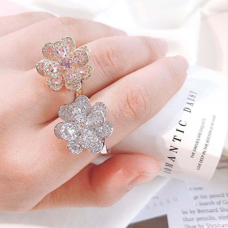 New Korean Big Flower Open Ring Shines Zirconia Wild Female Hand Ornaments NHDO202906