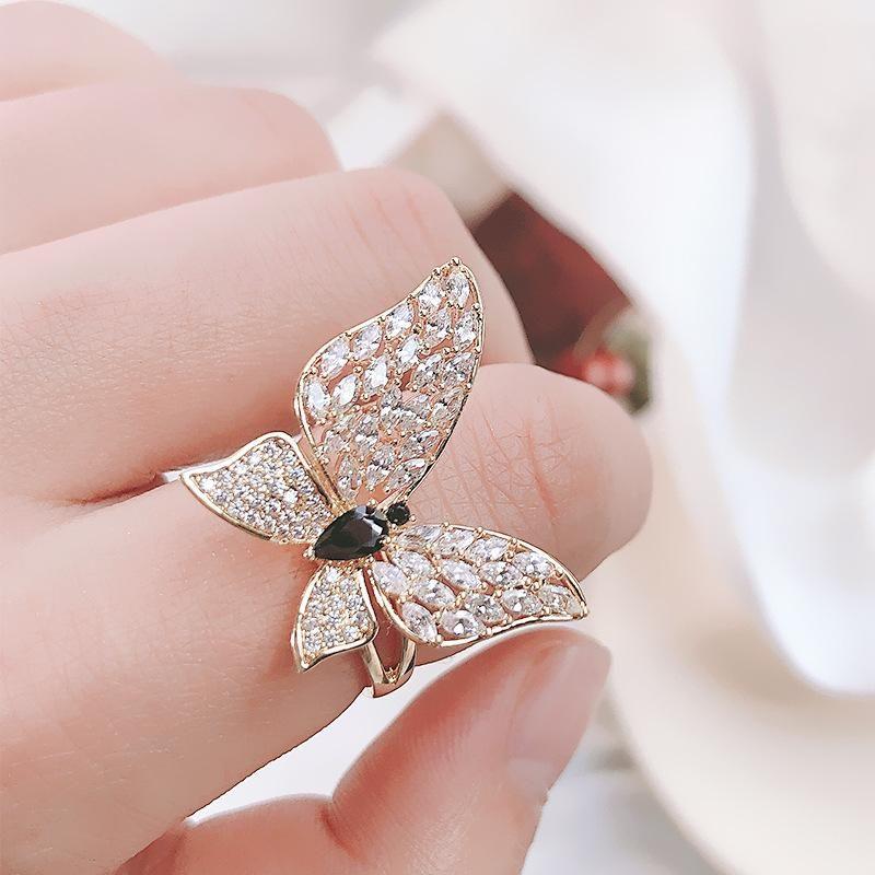 Fashion rings for women Korean fashion open butterfly ring sparkling zircon bracelet NHDO202907