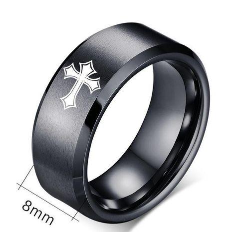Anillo cruzado de acero de titanio de 8 mm Anillo de pareja de acero inoxidable al por mayor NHIM202919's discount tags