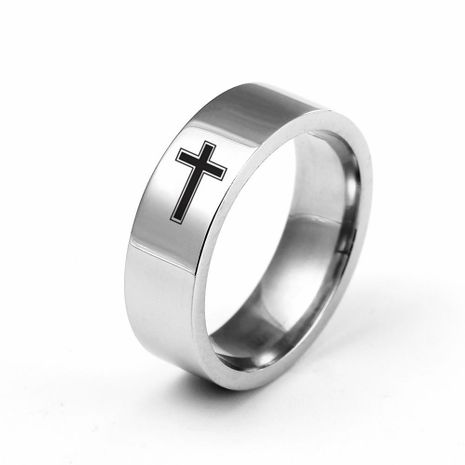 6mm titanium steel cross ring stainless steel couple ring wholesale NHIM202920's discount tags