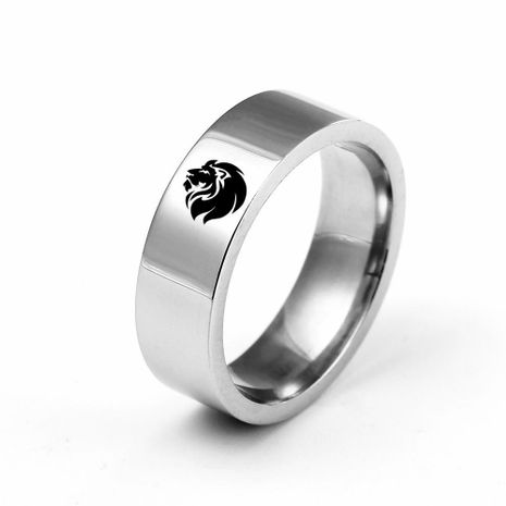 6mm titanium steel male lion head ring stainless steel couple ring wholesale NHIM202921's discount tags