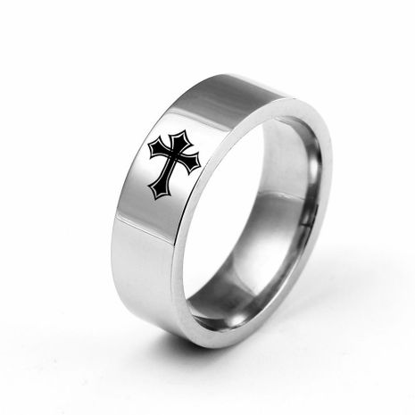 6mm titanium steel cross ring stainless steel couple ring wholesale NHIM202923's discount tags